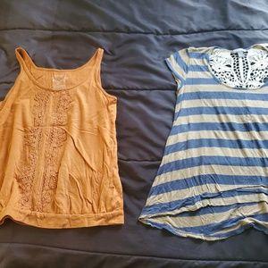 small sleeveless tops x2